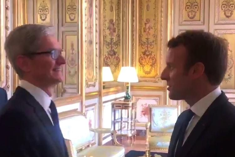 Tim Cook reçu par Emmanuel Macron à l'Élysée le 23 octobre