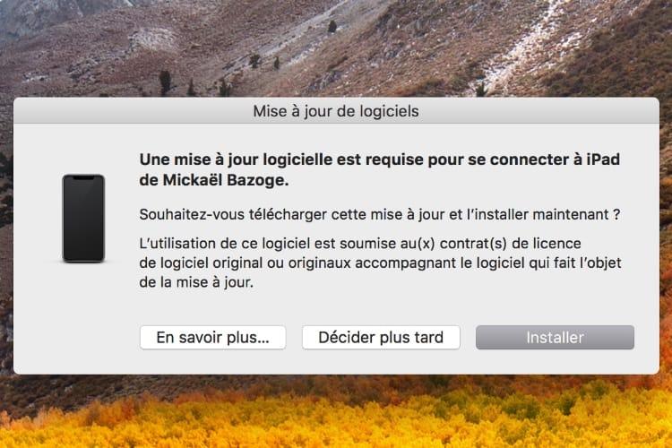 macOS peut demander une mise à jour logicielle après la connexion d'un appareil iOS