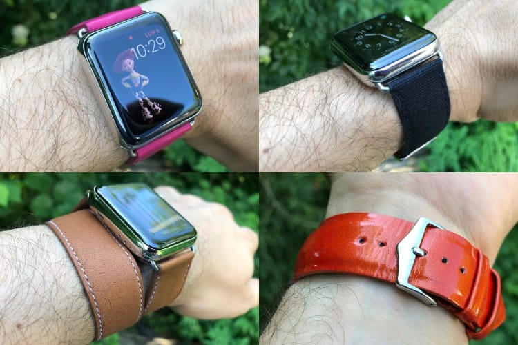 Quatre bracelets Band-Band pour Apple Watch au poignet