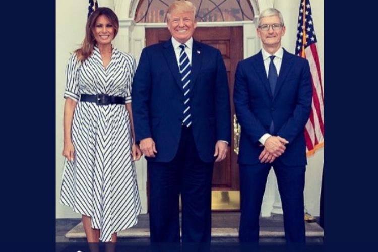 Melania et Donald Trump ravis de leur repas avec Tim Cook