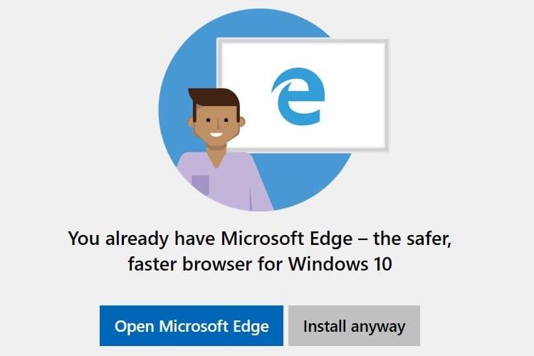 Windows 10 n'aime pas trop que vous vouliez installer un autre navigateur web