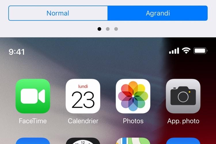 L'iPhone XS Max dispose de la fonction zoom de l'écran des iPhone Plus